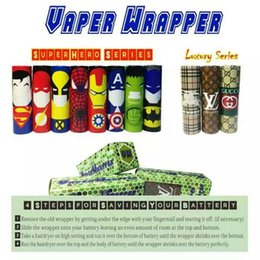 Wholesale 11Style Superhero Luxury Series Hulk Batman Battery PVC Skin Sticker Vaper Wrapper Cover Sleeve Shrinkable Tubing Wrap Heat Shrink DHL