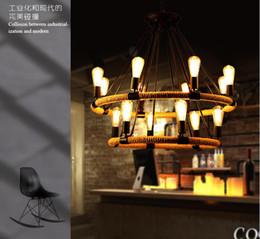 Grosshandel American Doppelschicht Eisen Hanf Seil Kronleuchter Retro Industriellen Stil Wohnzimmer Esszimmer Freizeit Lampen