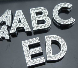 Wholesale 130pcs lot 18mm A-Z full rhinestones Slide letter fit for 8mm diy keychains wristband 0001