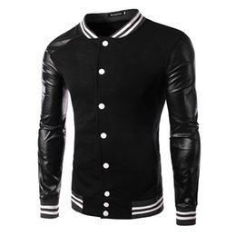 Veste de baseball coréenne hoodie en Ligne-2017 Autumn Korean New Arrive Men's Outwear Jacket Fashion Splice Sweater Baseball Coat Hommes Hoodies Noir