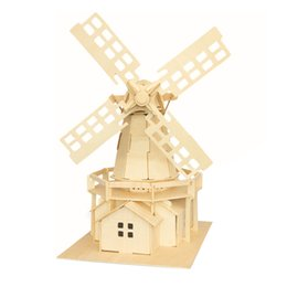 MICHLEY 1pc 3D Wooden Construction Jigsw Puzzle Kid Educational Woodcraft DIY Kit Toy Simulation Models Holand Windmill 1T0056-helanfengche