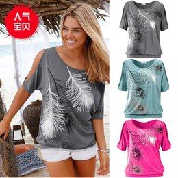 Descuento tipos de pantalones cortos para las mujeres Verano mujeres pluma impresa camisetas O-cuello sin tirantes camisas de hombro de manga corta T-shirt Tipo suelto