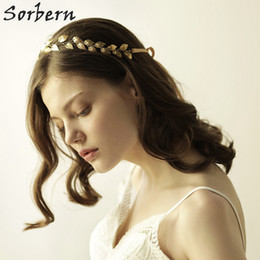 Sorbern Gold Leaves Hair Jewelry Adjustable Shine Wedding Tiaras For Women Hair Band Bridal Wedding Party Hair Accessories Bride Gifts