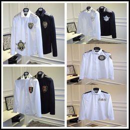 Wholesale Men Balmain Shirt Fashion Luxury Stylish Casual Designer Dress Shirt Balmain Long Sleeve Turndown Silk Embroidery Dress Shirts Balmai Shirts