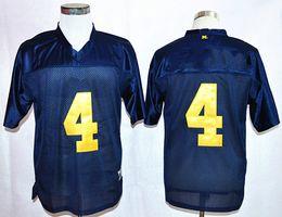 Men's 4 Jim Harbaugh College Jerseys Michigan Wolverines men Jerseys Cheap Home Blue Stitching size S-XXXL