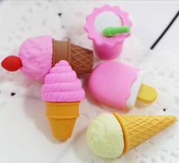 Enfants mignons effaceurs en Ligne-Vente en gros-1 PCS Kawaii Gomme à glaçons Grande gomme à glaçage pour enfants Nouveauté Cake Eraser Set Papeterie Kid Gift Toy Cute