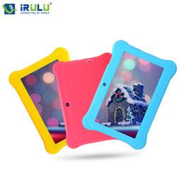 Couleur dual quad en Ligne-Grossiste iRULU 7 '' Baby Tablet PC 1024 * 600 HD Android 4,4 Quad Core 1G RAM + 8G ROM WIFI G-Capteur Dual Cameras Candy Couleur cadeau pour bébé