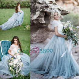 Sky Blue 2019 Modest Tulle Country Wedding Dresses Lace Jewel Neck Short Sleeves Vintage boho Bridal Gowns Court Train
