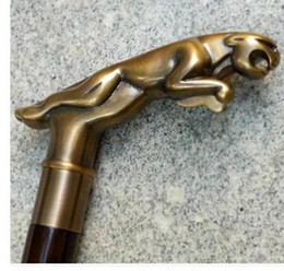 Wholesale MEN crafts Brass Lucky Foreign copper leopard head imported wooden crutch stick old gentleman gift birthday gift cane