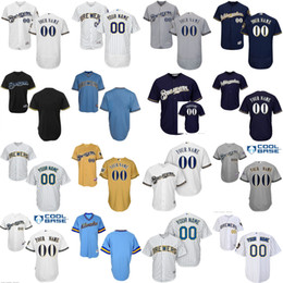 Men's Custom Milwaukee Brewers Baseball Jersey 7 Eric Thames 8 Ryan Braun 20 Jonathan Lucroy 47 Jett Bandy Flexbase Collection stitched