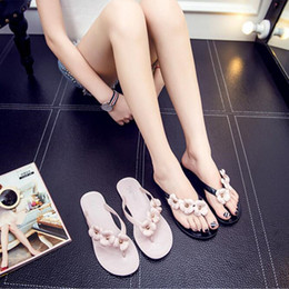 2017 new summer slippers women's sandals exposed toe camellia decorated women's slippers sandals black   pink jelly shoes