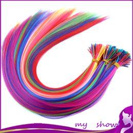 """Plumes synthétiques gros en Ligne-Vente en gros-20 """"100Pcs / Lot 10 couleur mélangée Longue boucle de plumes en forme de boucle de cheveux Grizzly Strands couleurs solides extensions de cheveux synthétiques"""
