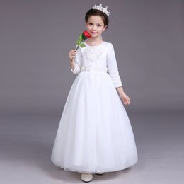 Children Wedding Dress Long Sleeve Girls Dress Baby Clothes During The Spring And Autumn Winter Costumes White Bitter Fleabane 2016 Hot