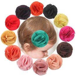 Acheter en ligne Pinces à cheveux ronds-Baby Brillant Mousseline de cheveux Clips Newborn Infant Solid Floral Hair Barrette Hot Sale Filles Ronde Rose Hair Ornaments Accessoires
