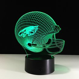 Novelty Philadelphia Eagles Football Helmet Illusion LED Night Light Color Changing 3D Lamps for Kids Gift Decor