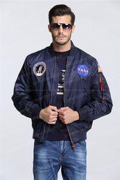 Promotion voler v 2016 printemps Automne mince de la marine de la NASA veste volant homme varsity américain collège bombardier vol ma1 veste pour les hommes