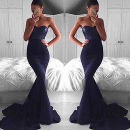 Sexy Navy Blue Sequins Top Mermaid Evening Dresses 2017 Backless Sweetheart Sweep Train Party Dresses Juniors Prom Dresses