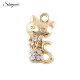 Wholesale Alloy Metal Charms Cute Cat DIY Charm Pendants Handmade Crafts mm Silver Gold Plated