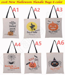 Araignées noires en Ligne-Halloween sac à main sac à main avec poignée noire 36X48cm Sacs à provisions sac à main Halloween diable araignée Hallowmas cadeaux OOA242