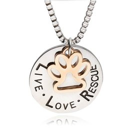 Wholesale New Sunshine Live Love Rescue letter for dog lover necklace for women Cat Dog Paw Print Necklace collier Pet Paw Pendant