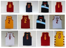 2017 amour rouge Qualité supérieure ! Chemise rétro 0 Kevin Love 2 Kyrie Irving Jersey 23 LeBron James 5 Jr Smith Bleu Blanc Rouge Jaune Throwback Basketball Jersey amour rouge sortie