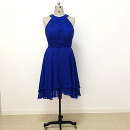 Royal Blue Bridesmaid Dresses Hi Lo Knee Length Halter Neck New Arrival A Line Chiffon Wedding Party Gowns For Girls