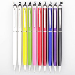 Metal touch pen 2 in1 Stylus With ball Pen For iPhone ipad iPod mobile phone free shipping by DHL
