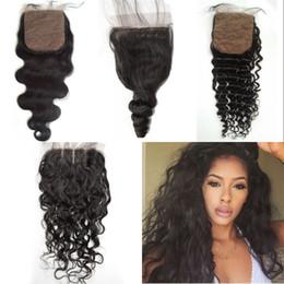 Promotion 18 black hair Water Wave Wet and Wavy Silk Base Fermeture 4x4 noir naturel malaisien cheveux humains fermeture à l'émail fermeture à fond profond G-EASY
