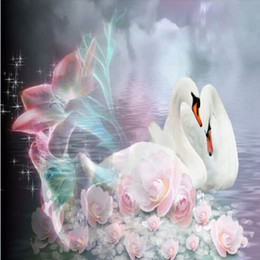 Wholesale DIY D Home Decor Cross Stitch Kits Round Diamond Painting Swan Lover Animals Diamonds Embroidery Mosaic flower Swans