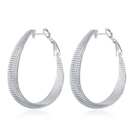 New Fashion 925 Silver Plated Big Egg Shape Concave Hoops Earrings Ladies Eardrop Jewelry For Party