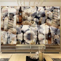 Wholesale D European Architecture Retro Style Fresco TV Backdrop Stereo Mural Custom Living Room Wallpaper