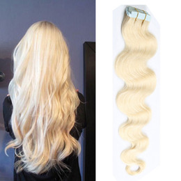 Tape In Hair Extensions #613 Bonde 100% Remy Human Hair Extensions 20pcs PU Skin Weft Body Wave Free Shipping Multi Color Factory Price