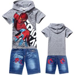 Promotion spiderman ensembles de vêtements d'été Vente en gros - Jeux d'habillement pour garçons spiderman en été 2016 enfants en coton à manches courtes T-shirt T-shirt en jean Denim Vêtements de sport Vêtements de bébé