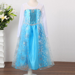 Wholesale PIECE new Frozen elsa anna Children Baby Girl Princess long Sleeve lace Tutu Sequins Dresses Free shopping