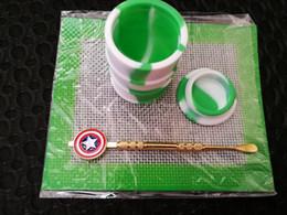 Ensembles de batterie à vendre-Silicone Wax Kit Set avec des plaques carrées tampons tambour tambour tambour 26ml conteneur d'huile Captain America outil dabber pour les jarres d'herbes sèches dab