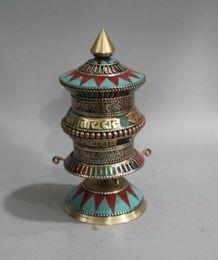 Collection Tibetan Buddhism Tibetan silver handwork inlay turquoise Prayer Wheel