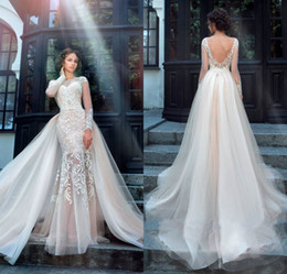 Chic Tulle Bridal Gown Exquisite Embroidery 2017 O-Neck 2 In 1 Detachable Train Mermaid Wedding Dress Customize Made Plus Size