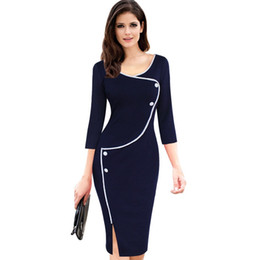 Womens Vintage Brief Split Bottom Elegant Casual Work 3 4 Sleeve Deep O-Neck Bodycon Knee Women Office Pencil Dress DK403SJ