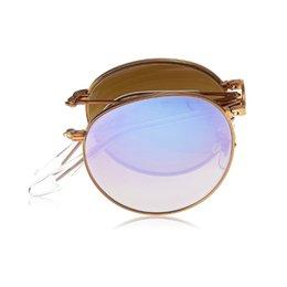 Espejo de cristal clásico en venta-Gafas de sol CALIENTES Classic bronce espejo lente de pliegue redondos de bronce marco hombres mujeres Marca diseñador moda gafas de sol caja