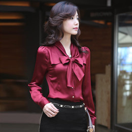 Elegant Ladies Silk Blouses Shirt Bow Knot Long Sleeve Office Work Blouse Slim-Fit Formal Dress Shirts S-3XL HOG1102