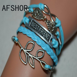 Hot Antique Silver Braided Blue Multilayer Leather Rope Bracelet Charm Bangles New Fashion Women Men Leaves Owl Best Friend Infinity Jewelry
