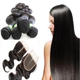 Extension des cheveux humains de l'ondé corporel Faisceau de cheveux perpéens du Brésilien malaisien brésilien avec une fermeture de dentelle à partir de extensions de cheveux humains tisse fabricateur