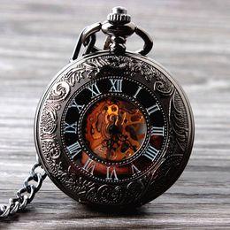 Wholesale New Cool Hand Wind Mechanical Pocket Watch Skeleton Watches Fashion Men Watch Vine Pocket Watch
