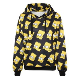 Wholesale 2017 d cartoon bart simpson hoodies funny Graphic hooded casual slim tops clothing Pullovers Sweatshirts