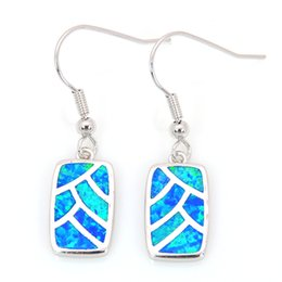 Wholesale & Retail Fashion Blue Fine Fire Opal Earrings 925 Silver Plated Jewelry For Women EJL16030805
