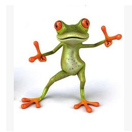 Wholesale Cute Green Frog Toilet Sticker Fashion HAPPY DANCING Plastic D Toilet Sticker for Wall Bathroom Decoration