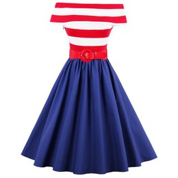Plus size S-4XL Women Vintage Dress Summer Cotton Striped Off Shoulder Belted Swing Party Dresses Rockabilly Tunic Vestido Belted DK3046MX