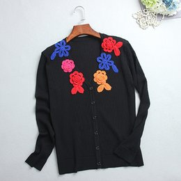 2017 noir cardigan tricoté 2017 Cardigan Women Sweater Reqular Long Sleeve V Neck Un crochet manuel solide est un cardigan en tricot coloré Noir 90 noir cardigan tricoté autorisation