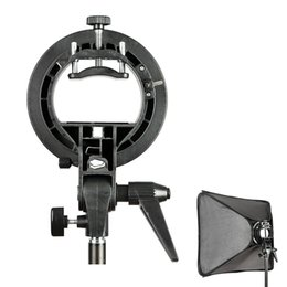 snoot flash Promotion Grossiste-Haute qualité PRO Godox S-Type de support de la caméra Bowens Mount Holder pour Speedlite Flash Snoot Softbox Noir