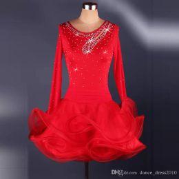 A16 New Adult Latin Dance Dress Salsa Tang Cha cha Ballroom Competition Group Dance Dress 2Color S-XXL Customizable